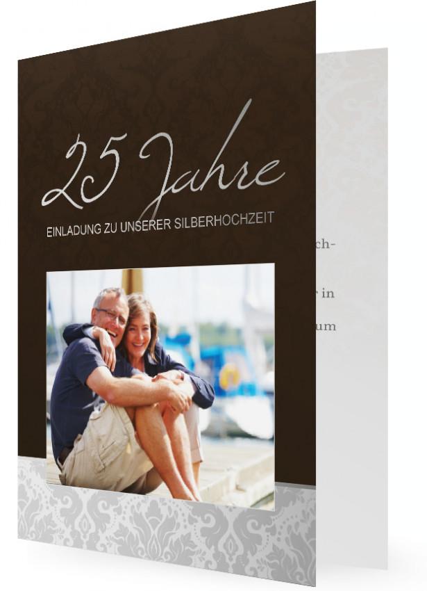 Einladungskarten Für Silberhochzeit, Braun Mit Bild Und Blumenmuster In Grau