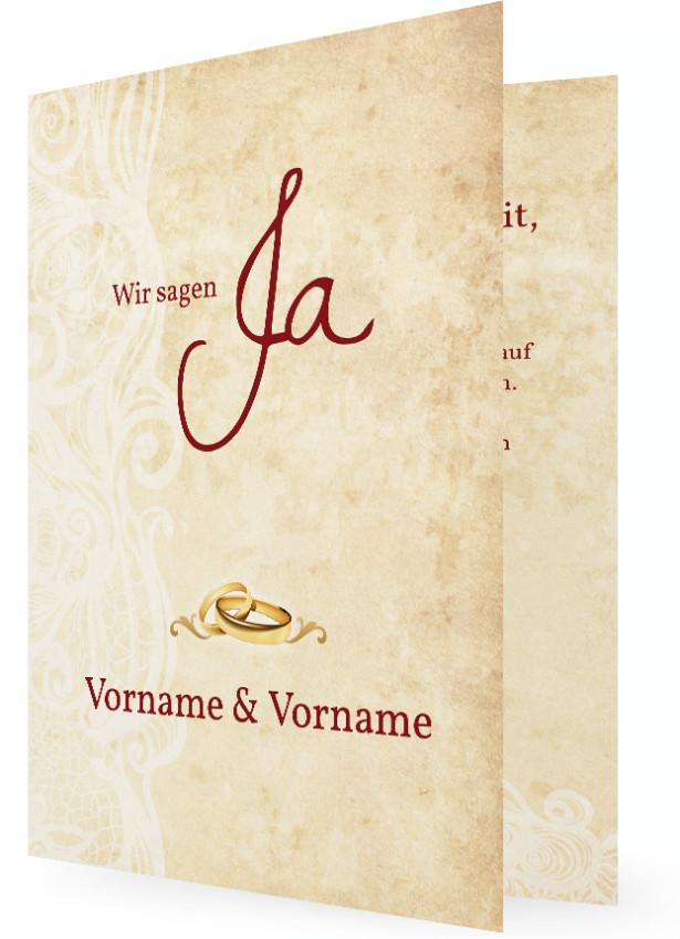 Einladungskarten Hochzeit, Ringe Und Schrift In Rot