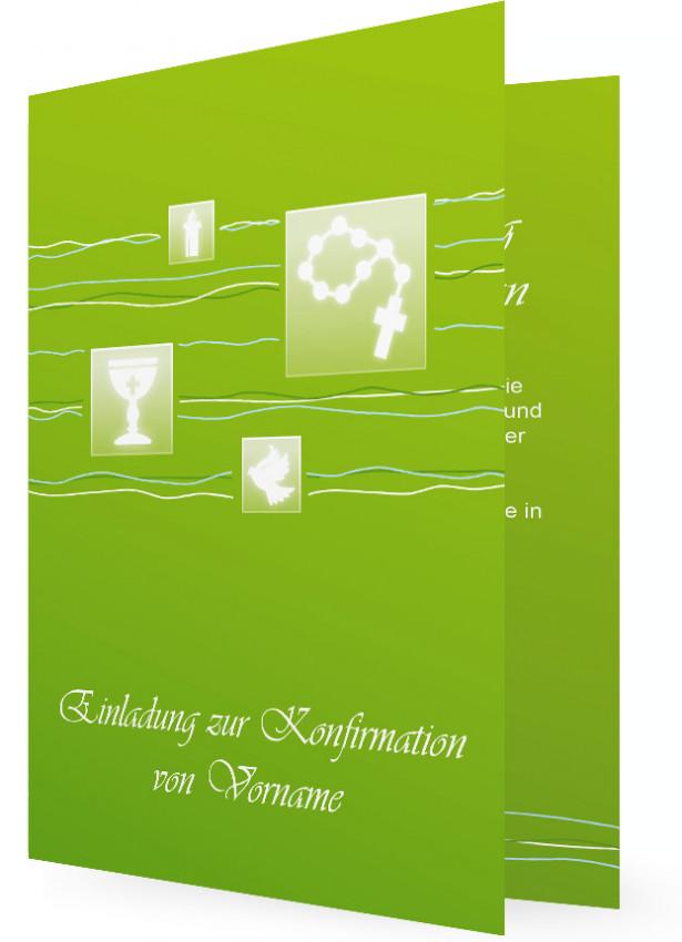 Einladungskarten Konfirmation, Quadratische Elemente In Grün Mit Weißen  Symbolen