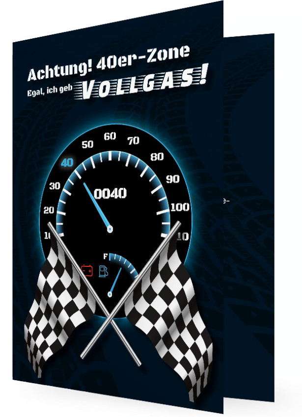 Einladungskarten Zum 40. Geburtstag, Tacho Mit Zeiger Auf 40