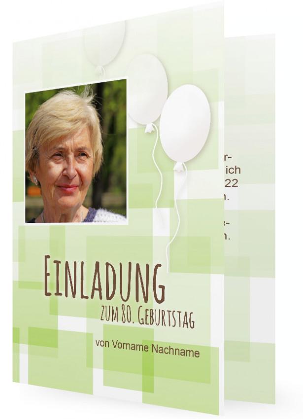 Einladungskarten Zum 80. Geburtstag, Grüne Kästchen