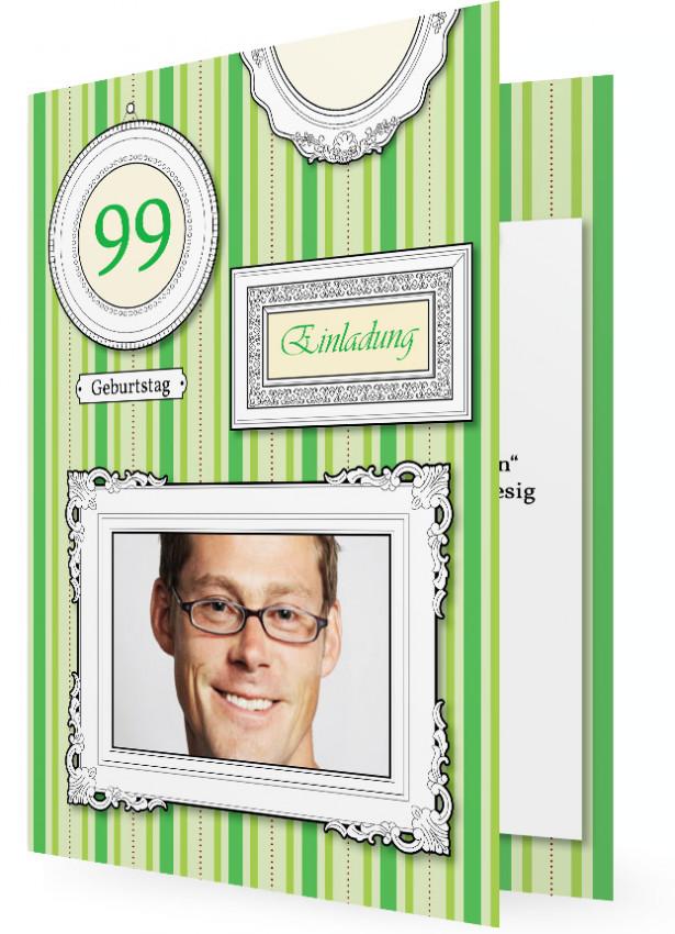 Einladungskarten Zum Geburtstag, Längsstreifen In Grün, Bild In Rahmen