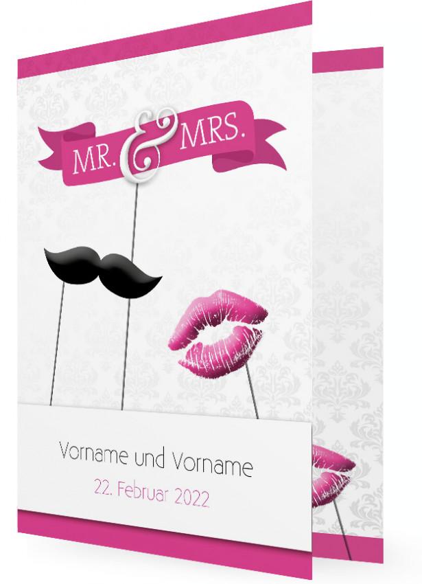 Einladungskarten Zur Hochzeit, Mr. U0026 Mrs. Bart Und Kuss Pink