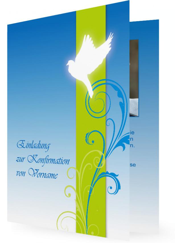 Einladungskarten Zur Konfirmation, Blau Und Grün Mit Friedenstaube Und  Ranken