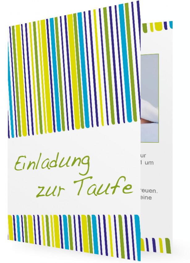 Einladungskarten Zur Taufe, Schräge Streifen Blau/Grün