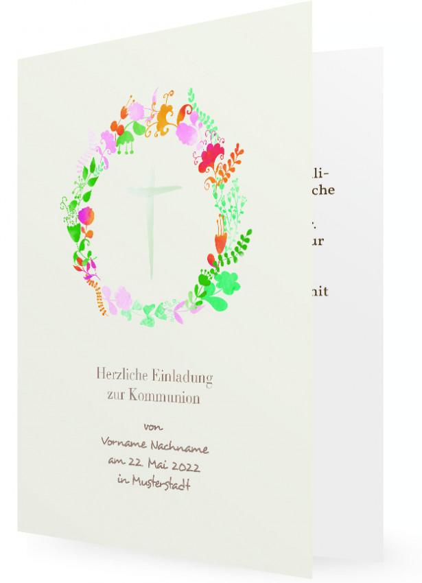 Erstkommunion Einladung Vorlagen, Blumenkranz Mit Kreuz In Grün