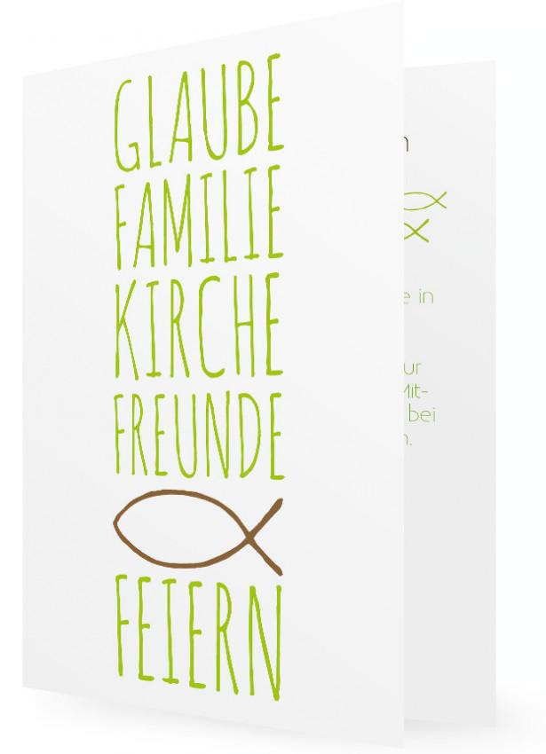 Erstkommunion Einladungskarten Vorlage, Große Schrift In Grün, Brauner Fisch