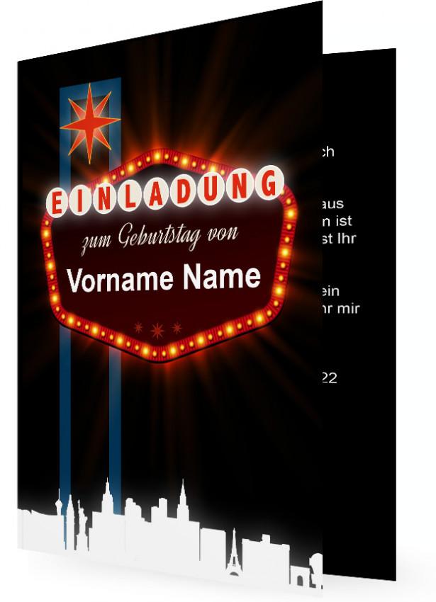 Geburtstagseinladungskarte Vorlagen Gestalten, Las Vegas