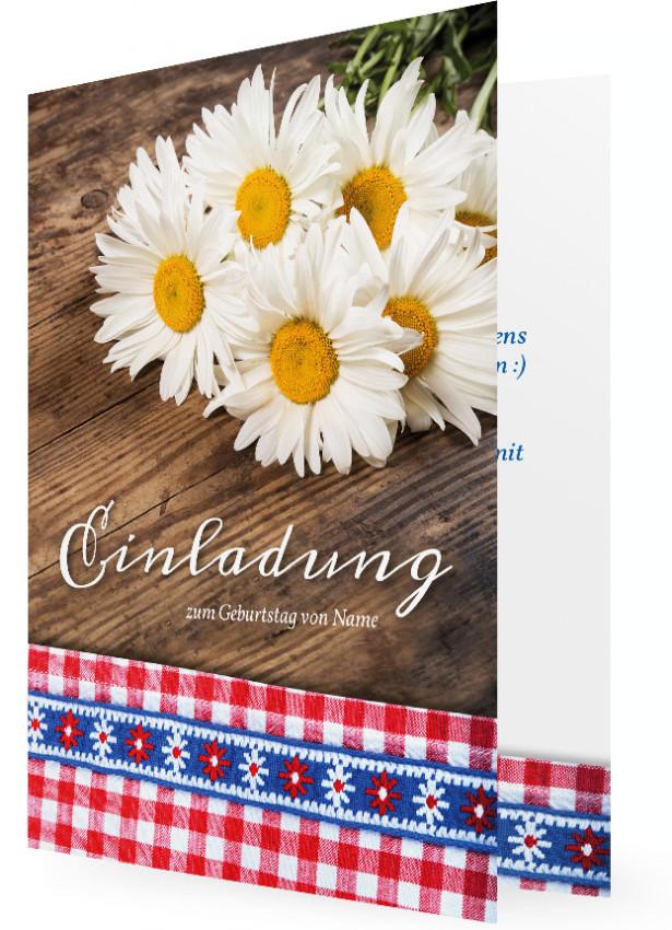 Geburtstagseinladungskarten Vorlage, Margeriten Auf Holztisch