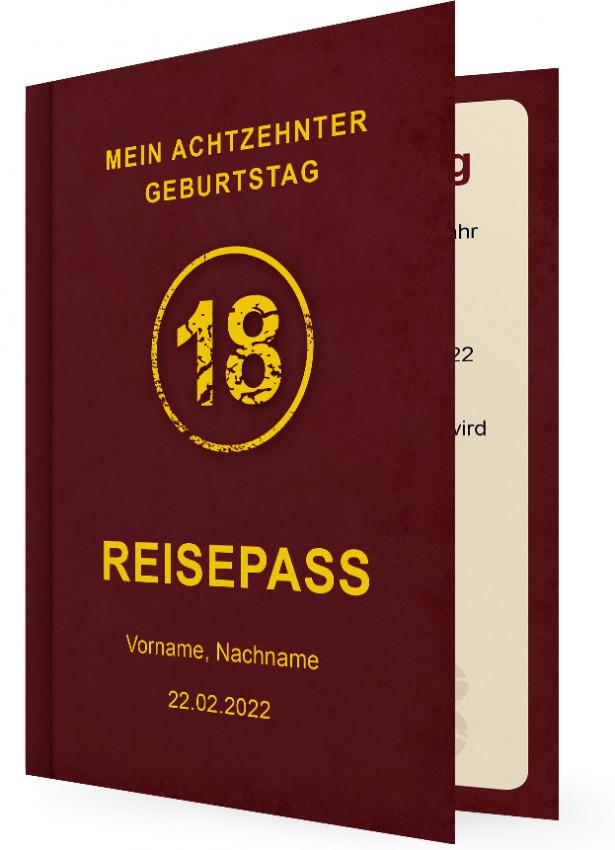 Geburtstagseinladungskarten Zum 18., Reisepass