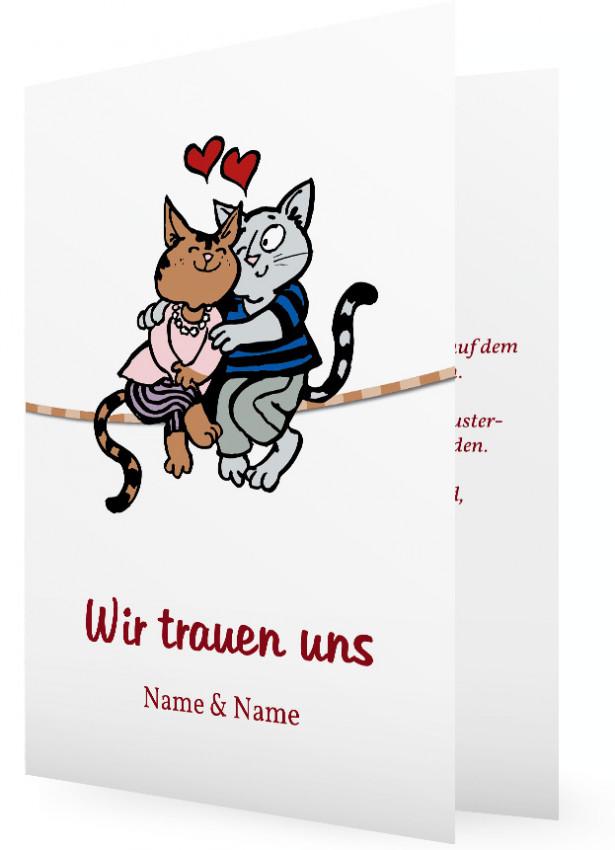 Hochzeit Einladungskarten, Verliebte Katzen Auf Seil