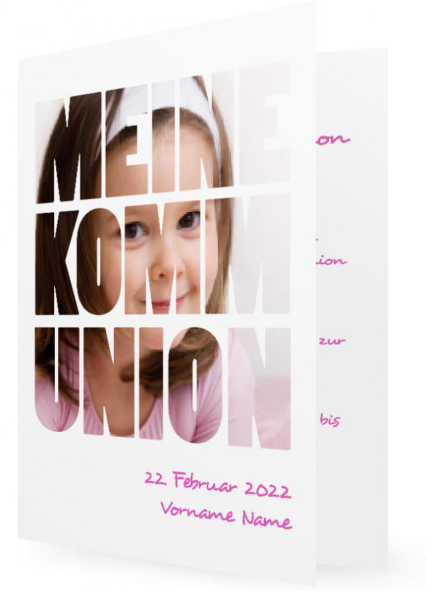 Kartenvorlage Für Einladung Zur Kommunion, Große Schrift Mit Foto