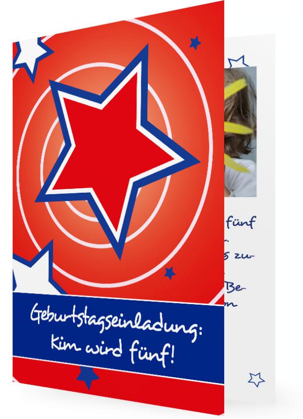 Einladungskarten Kindergeburtstag, Blau Umrahmter Roter Stern Vor Roten  Hintergrund