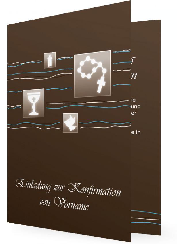 Konfirmation, Einladung In Braun, Quadrate Mit Kirchen Symbole