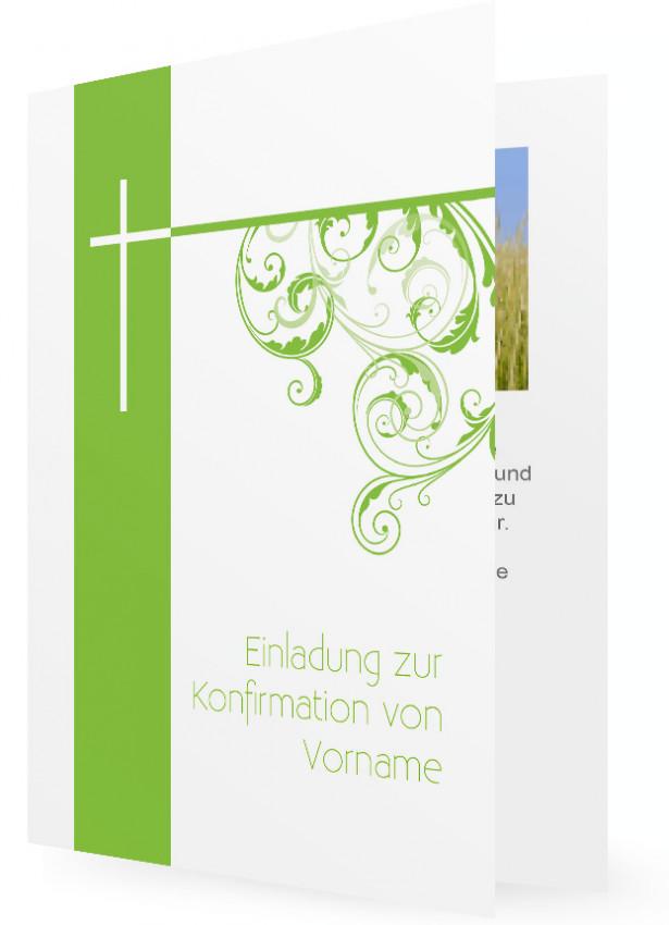 Konfirmation Einladungskarte Vorlagen, Hellgrüne Karte und weißes ...