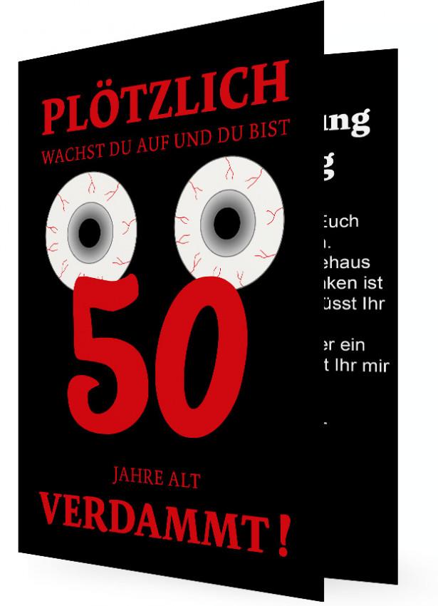 lustige einladung 50. geburtstag | familieneinladungen.de, Einladung