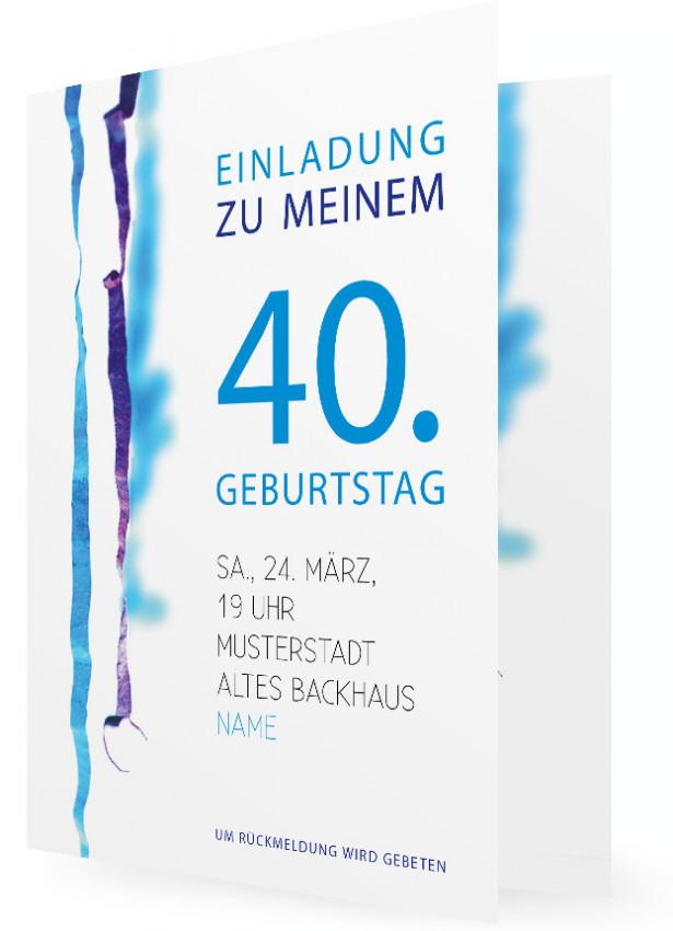 Originelle Einladungskarten Zum 40. Geburtstag, Blaue 40 Und Luftschlangen