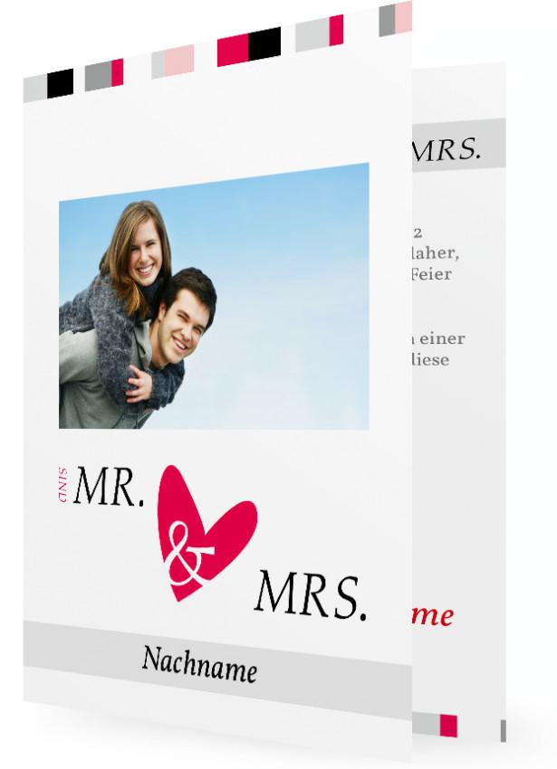 save the date karten selber machen mr mrs herz rot. Black Bedroom Furniture Sets. Home Design Ideas
