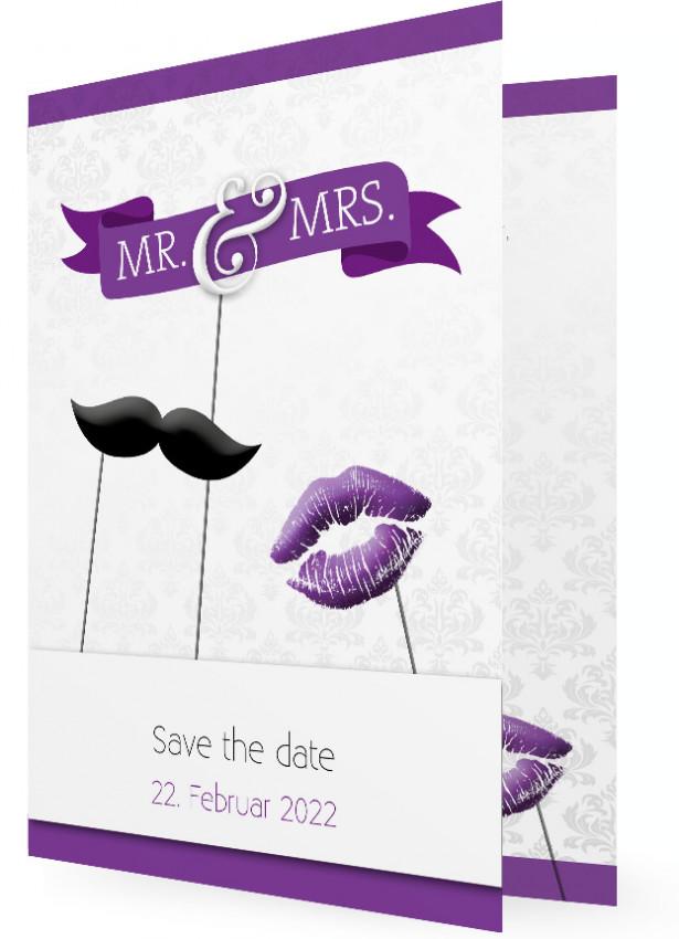 save the date postkarten und klappkarten mr mrs bart und kuss lila. Black Bedroom Furniture Sets. Home Design Ideas