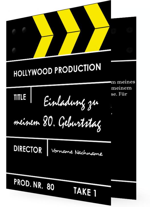 ... 80 geburtstag vorlage 80 geburtstag einladung filmklappe