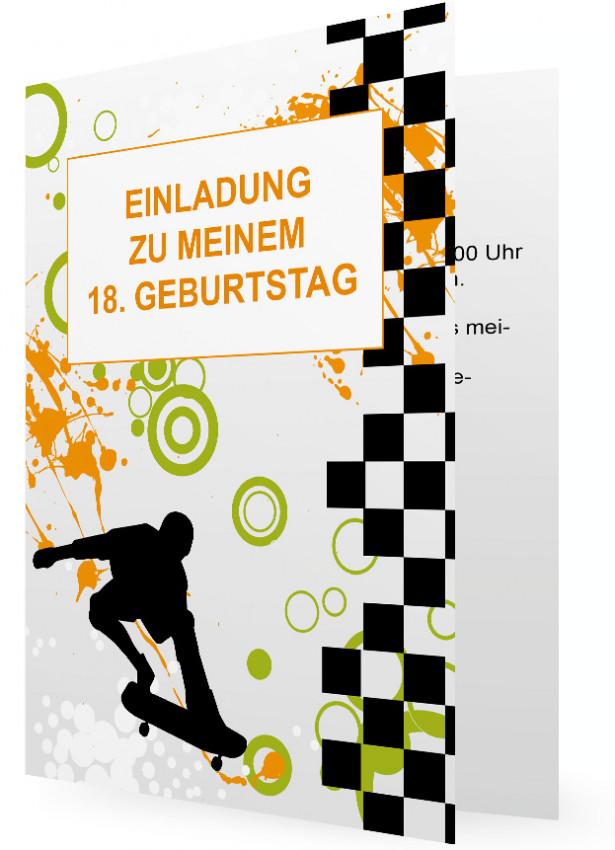 Vorlage Einladung 18. Geburtstag, Schwarzes Karo-Muster mit ...