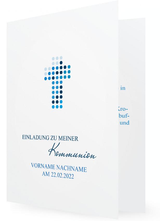 Vorlage Einladung Kommunion, Kreuz Aus Punkten, Blau