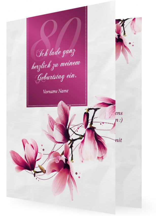 Vorlage Einladungen 80. Geburtstag, Magnolienblüten, Rosa