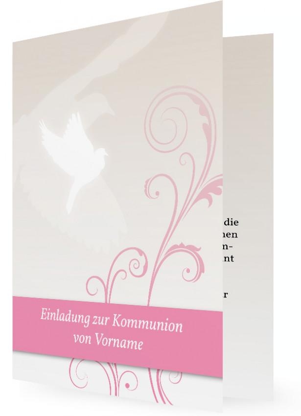 Vorlage Einladungen Kommunion, Rosa Balken Und Pflanzenranken, Weiße Taube