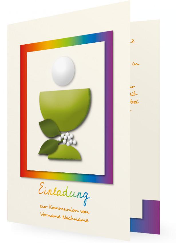 Vorlage Einladungskarten Kommunion, Bunter Rahmen, Kelch Mit Hostie