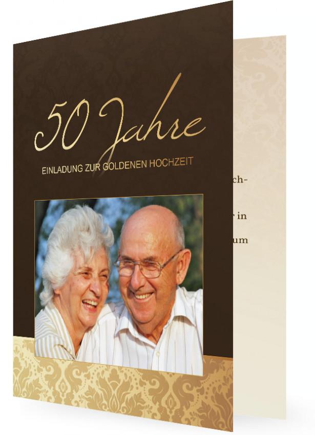Vorlage Für Einladung Goldene Hochzeit, Braun Grau Mit Bild Und  Geschwungene Blattmuster