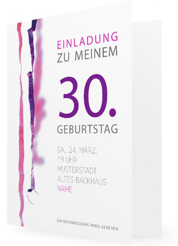 vorlage für geburtstagseinladung, dreißig | familieneinladungen.de, Einladungsentwurf