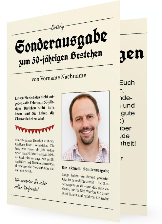 Vorlage Witzige Einladungskarte 50., Zeitung
