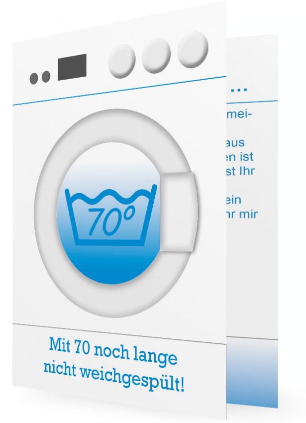 Vorlagen Einladung 70. Geburtstag, Waschmaschine