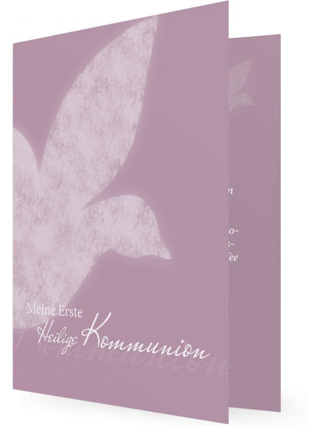 Vorlagen Einladung Erstkommunion, Karte In Lila, Weiße Taube