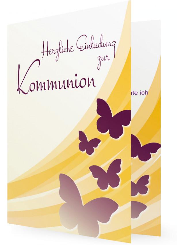 Vorlagen Einladungen Kommunion, Schmetterlinge Lila