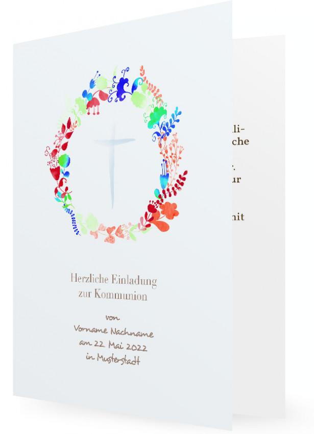 Vorlagen Für Einladung Kommunion, Blumenkranz Mit Blauen Kreuz