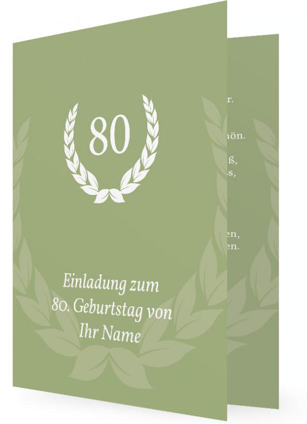 Vorlagen Für Einladungen Zum 80. Geburtstag, Weißer Kranz Auf Oliv Grün