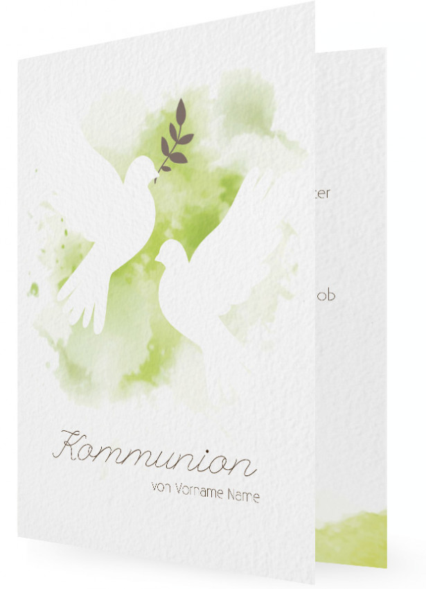 Vorlagen Für Einladungskarten Zur Kommunion, Tauben Vor Farbklecks In Grün