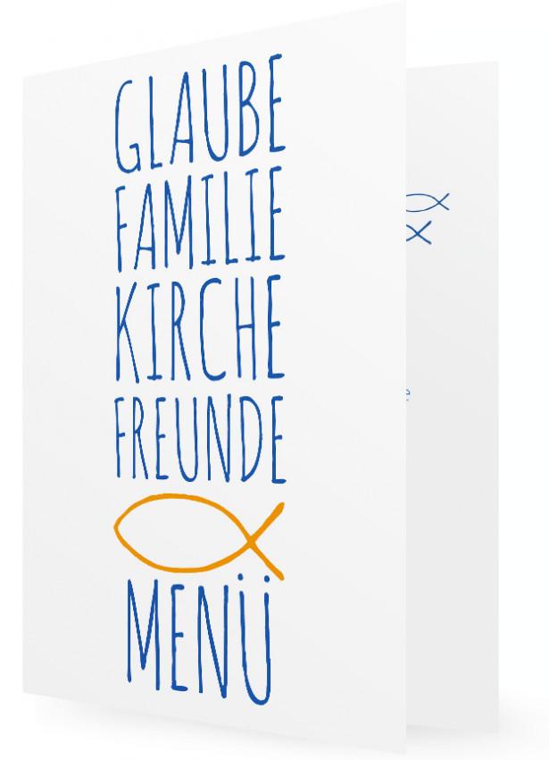Vorlagen Menükarten, Große Schrift In Blau, Oranger Fisch