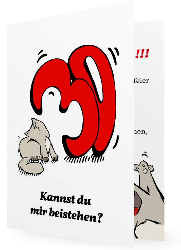 Außergewöhnlich Witzige Einladung Zum 30. Geburtstag, Katze Mit Großer Roter 30