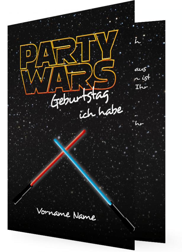 Witzige Einladungskarte, Party Wars