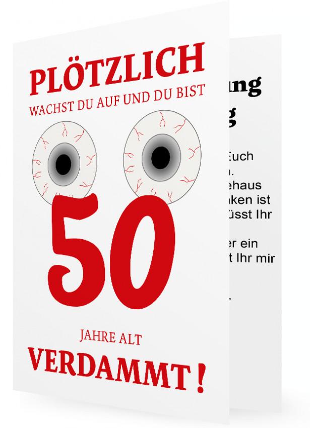 witzige einladungskarte 50. geburtstag | familieneinladungen.de, Einladung