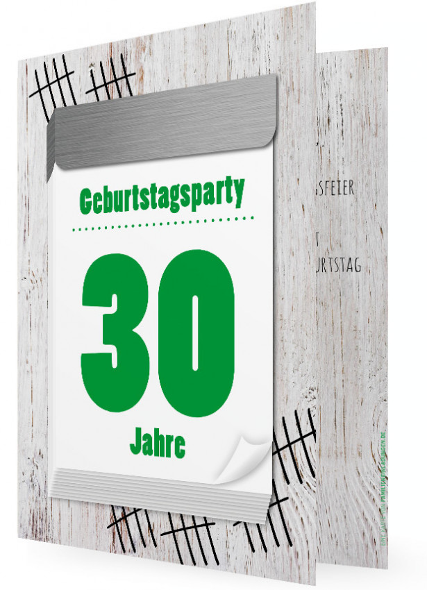 Witzige 30. Geburtstag Einladungskarte, Abreißkalender Grün