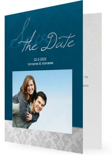 save the date postkarten u klappkarten silber blau. Black Bedroom Furniture Sets. Home Design Ideas