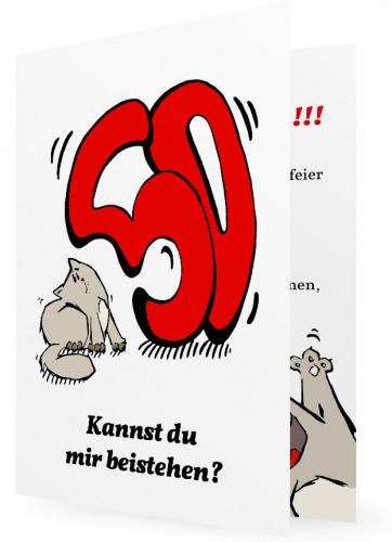 Witzige Einladung zum 50. Geburtstag, Katze mit großer Fünfzig in ...