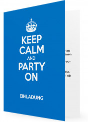 Einladungskarte zum Geburtstag drucken, Keep calm and party on, blau
