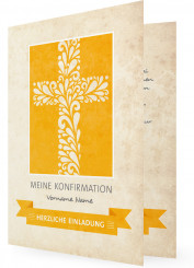 Einladungskarten f�r Konfirmation, Kreuz mit Muster orange