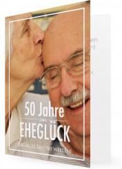 Goldene Hochzeit Einladungen Vorlage, Weiße Schrift, Foto