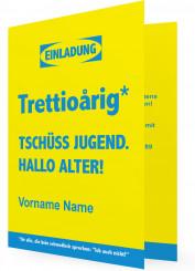 Lustige Kartenvorlage Einladung 30. Geburtstag, Schwedisch