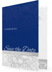 Save the date, Blau mit Ornamenten